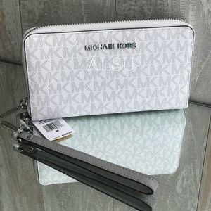Michael Kors Flat Wristlet Case Wallet BrightWhite